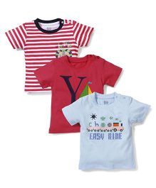 Ohms Half Sleeves T-Shirt Set of 3 - Sky Blue Red