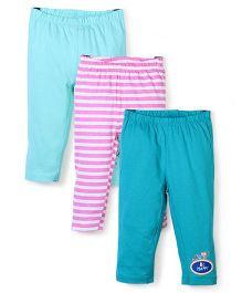OHMS Full Length Leggings Set of 3 - Green Pink And Aqua
