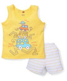 Zero Sleeveless Vest And Shorts Car Print - Yellow