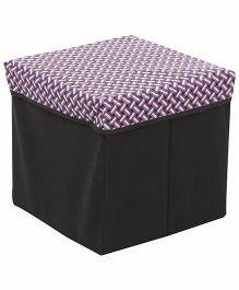 Square Shape Foldable Storage Box Weave Print - Lavender