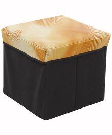 Square Shape Foldable Storage Box - Light Orange & Black