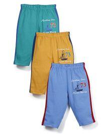 Zero Track Pants 73 Print Set of 3 - Yellow Blue Green