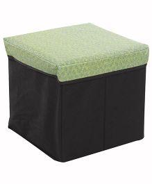 Square Shape Foldable Storage Box Leaf Print - Green