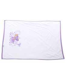 Tinycare Baby Towel Teddy Print - White and Purple