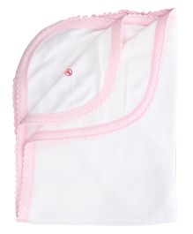 Tinycare Plain Baby Towel - White and Pink