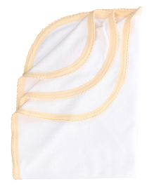 Tinycare Plain Baby Towel - White and Orange