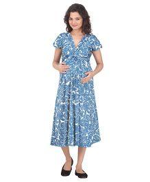 Uzazi Short Sleeves Knot Style Maternity Dress - Blue