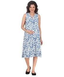 Uzazi Sleeveless Printed Maternity Dress - Blue & White