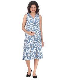 Uzazi Sleeveless Printed Maternity Dress - Blue & White