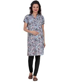 Uzazi Short Sleeves Maternity Kurti Floral - Grey
