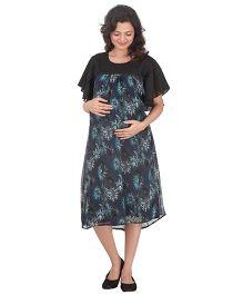 Uzazi Flared Sleeves Printed Maternity Dress - Navy & Black