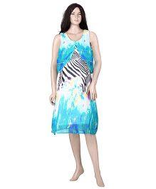 Uzazi Sleeveless Printed Evening Nursing Dress - Blue