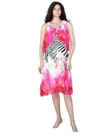 Uzazi Sleeveless Printed Evening Nursing Dress - Pink
