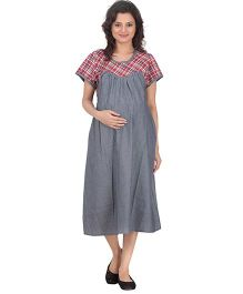 Uzazi Checkered Nursing Dungaree Style Maternity Dress - Red & Grey