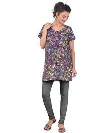 Uzazi Half Sleeves Nursing Top Floral Print - Violet