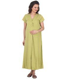 Uzazi Nursing Nighty Polka Dot Print - Green