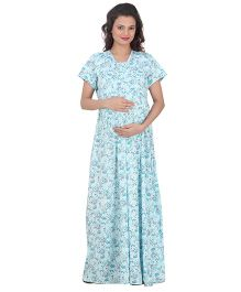 Uzazi Short Sleeve Full Length Maternity Nighty Small - Green