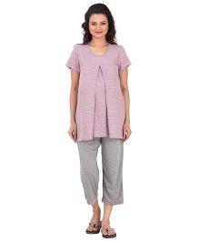 Uzazi Half Sleeves Cropped Nursing Night Suit Set - Pink