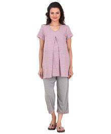 Uzazi Half Sleeves Cropped Nursing Night Suit Set - Pink