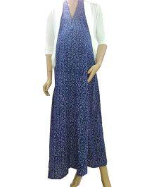 Uzazi Maternity Dress And Shrug Set Blue White - Small