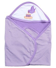 Tinycare Hooded Bath Towel Bird Embroidery - Purple