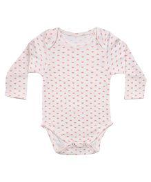 bio kid Full Sleeves Heart Print Onesies - White