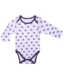 bio kid Full Sleeves Polka Dot Onesie - White Purple