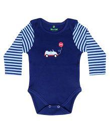 bio kid Full Sleeves Onesie Car Embroidery - Navy Blue
