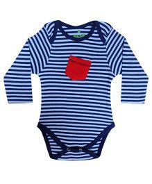bio kid Full Sleeves Onesie Horizontal Stripes - Navy Blue