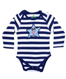bio kid Full Sleeves Onesie Star Fist Embroidery - White And Navy Blue