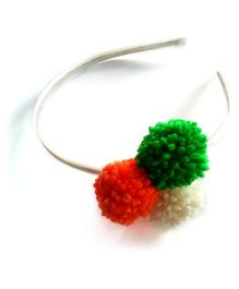 Soulfulsaai Tricolour Pompom  Hairband - Multi Color