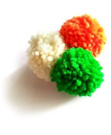 Soulfulsaai Tricolour Pompom Broach Pin - Multi Color