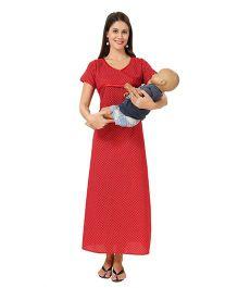 Eazy Maternity Feeding Nighty Red - Extra Large