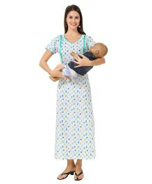 Eazy Maternity Feeding Nighty with Zippers Blue XL (Bust 48@DQ@) Cotton