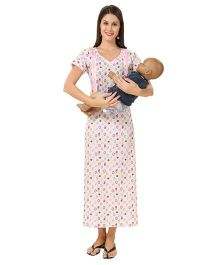 Eazy Maternity Feeding Nighty Pink And White - Extra Large