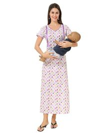 Eazy Maternity Feeding Nighty Purple And White - Extra Large