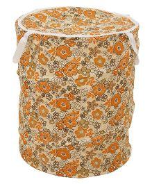 Floral Print Storage Bag - Orange