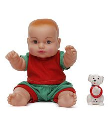 Speedage Manav Baby Doll With Puppy Red And Green - 20 cm