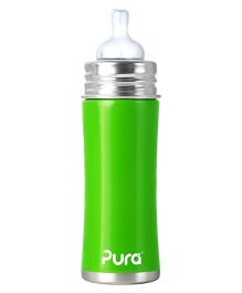 Pura Bottle With Natural Vent Nipple - Green
