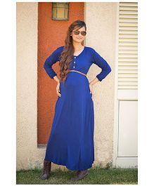Momzjoy Full Sleeves Maternity Maxi Dress - Deep Blue