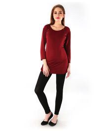 Momzjoy Shoulder Poppers Longline Nursing Top - Maroon