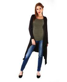 Momzjoy Full Sleeves Asymmetrical Maternity Cardigan - Classic Black