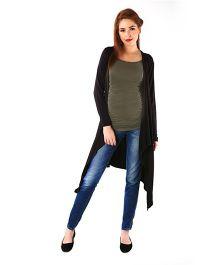 Momzjoy Full Sleeves Asymmetrical Maternity Cardigan - Classic Black