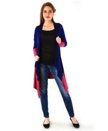 Momzjoy Contrast Stretch Maternity Cardigan - Blue & Pink