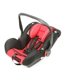 LuvLap Infant Baby Car Seat Cum Carry Cot With Rocker And Canopy - Red