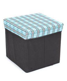 Square Shape Foldable Storage Box Checks Print - Blue And Black