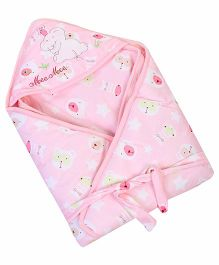 Mee Mee Hooded Blanket Elephant Print - Pink