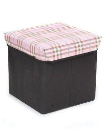 Square Shape Foldable Storage Box Checks Print - Light Pink And Black