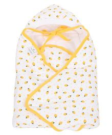 Tinycare Hooded Wrappper Strawberry Print - Yellow
