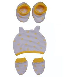 bio kid Dotted Cap Mittens And Booties Set - White & Yellow